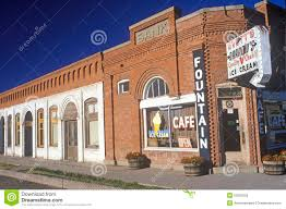 storefronts downtown small town usa editorial stock photo