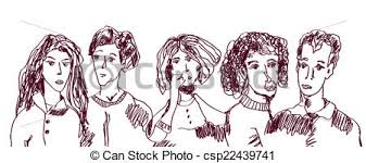 eps vector of set of people hand drawn sketch ordinary people