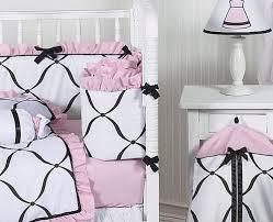 pink black and white princess baby bedding 9 pc crib set only