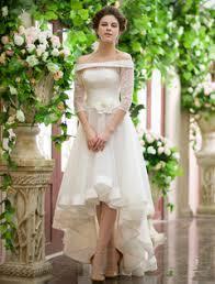 milanoo robe de mari e robe de mariée asymétrique ivoire avec fleur à col bateau milanoo