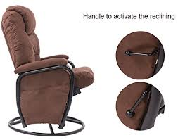 Swivel Glider Recliner Chair by Merax Brown Luxury Suede Fabric Nursery Glider Rocking Chair 360