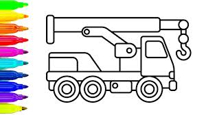 learn colors with crane truck coloring pages construction truck