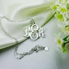 sterling silver monogram necklace pendant vine font initial monogram necklace silver