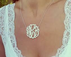 2 Inch Monogram Necklace Dainty Necklace Delicate Monogram Necklace 3 Initials