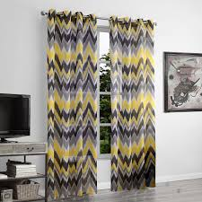 Yellow And Grey Window Curtains Xyzls Yellow And Grey Wave Pattern Window Curtains Sheer Curtain
