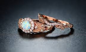 groupon wedding rings white opal halo engagement ring set in 18k gold groupon
