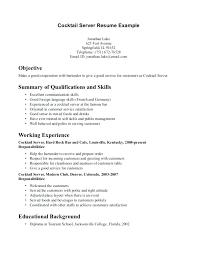 server resume template server resume template sample restaurant server resume sample