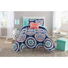 Mainstay Comforter Sets Mainstays Navy Medallion Bed In A Bag Twin Full Queen Comforter