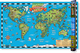 Antarctica On World Map by Kid U0027s World Map Interactive Wall Chart Round World Products