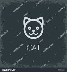 cat minimalist logo icon face black stock vector 375390655