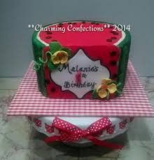 watermelon first birthday smash cake hand cut fondant decorations