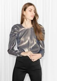 metallic blouse pearlescent blouse metallic other stories