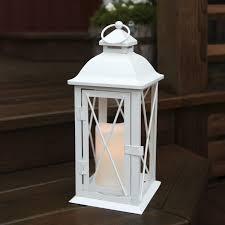 lanterne extérieure avec bougie led en métal blanc hauteur 32cm