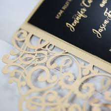 black and gold wedding invitations black and gold foil pressed customized pocket laser cut