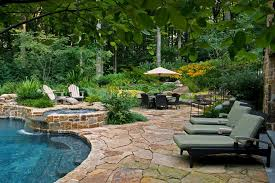 Backyard Stone Ideas Patio Pavers Ideas With Outdoor Dining Flower Beds