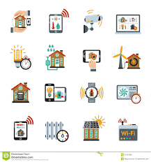 smart house technology system icons stock vector image 53761982