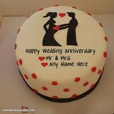 Wedding Anniversary Cakes Happy Wedding Anniversary Cake With Name