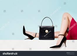 Light Blue High Heels Woman Fashion Beautiful Black Purse Hand Stock Photo 461723137