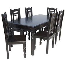 ebony 7 piece dining room table chair set
