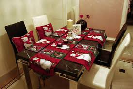 table setting runner and placemats set vintage red christmas snowman tapestry cushion covers table