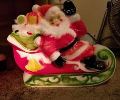 vintage santa claus sleigh blowmold blow mold outdoor light