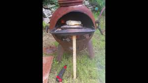 Chiminea With Pizza Oven 2nd Test Wood Fired Chiminea Pizza Oven Youtube