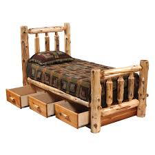 rustic beds king size cedar traditional log bed with underbed 3