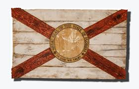 Florida Flag History Handmade Distressed Wooden Florida Flag Vintage Art Distressed