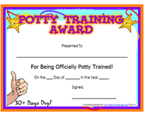 printable potty training award certificates