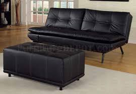 Modern Futon Sofa by Black Vinyl Modern Futon Sofa Bed W Optional Matching Ottoman
