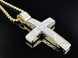 cross necklace with diamonds images Mini genuine 0 75 ct diamond cross pendant chain in 10k yellow jpg