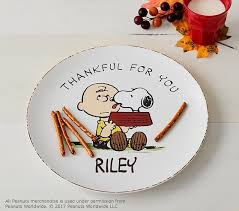 peanuts thanksgiving personalized plate pottery barn