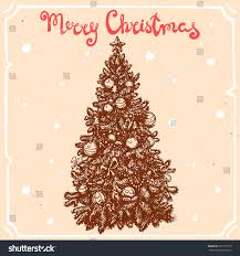 vector illustration christmas tree starballstext merry stock