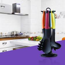 jeux de cuisine serveur 7 dans 1 résistant à la chaleur coloré cuillère louche