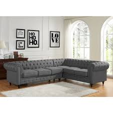 Leather Sectional Sofa Chaise Sophia Modern Style Tufted Rolled Arm Left Facing Chaise Sectional