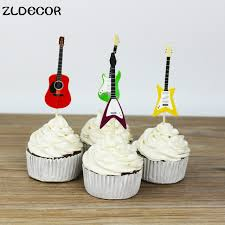 Home Cake Decorating Supply Zldecor Musical Instruments Party Cupcake Toppers Picks Decoration