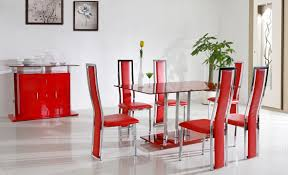 Red Dining Room Table Black Leather Padded Seats Area Black Stained Cement Floor Small