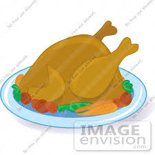 cooked turkey for thanksgiving clipart of a hot cooked turkey bird on a platter with potatoes and