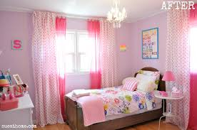 chic pink bedroom curtains for girls bedroom with wooden single