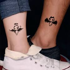 couple temporary tattoos men women small elf angel lovers leg arm