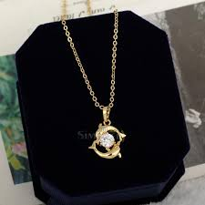 crystal necklace gold chain images Cute couple dolphin 18k gold plated crystal necklace lady pendant jpg