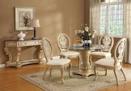 Antique White Finish Solid Wood Pedestal Glass Top Dining Table Set - Antique white pedestal dining table