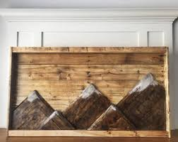 wood plank artwork mountain etsy