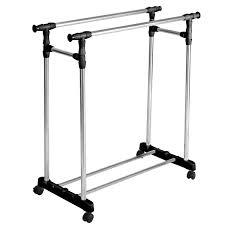 costway heavy duty double adjustable portable clothes rack hanger