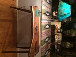 live edge table with turquoise inlay liveedge walnut console table with turquoise inlay boulder
