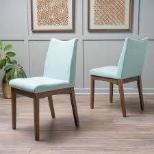 Noble House Dining Chairs Noble House Roosevelt Mint Fabric Walnut Dining Chairs Set Of 2