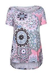dokotoo womens casual summer floral print crisscross cotton