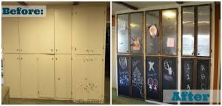 update outdated cabinets by adding sheet metal and chalkboard