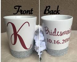 Coffee Mugs For Guys Bridesmaid Coffee Mug Glitter Coffee Mug Upper Case Initial Mug