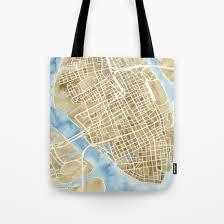 charleston south carolina city map print tote bag by e